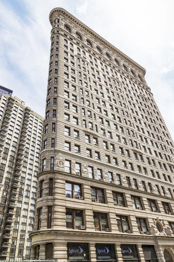 Meningen van het beroemde Strijkijzergebouw bij de hoek van 5de Ave en 23ste St in New York, de V.S. stock foto's