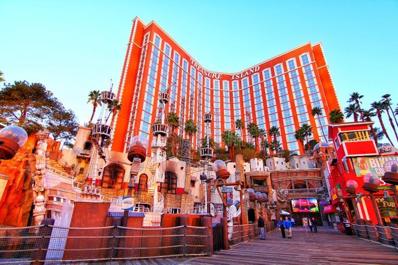 Meningen van het het Hotel en Casino van het Schateiland in Las Vegas stock foto's