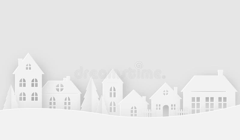 Meningen van het huis in wintertijd stock illustratie