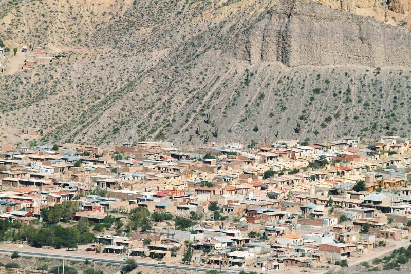 Meningen van kleurrijke bergen van Tilcara stock foto's
