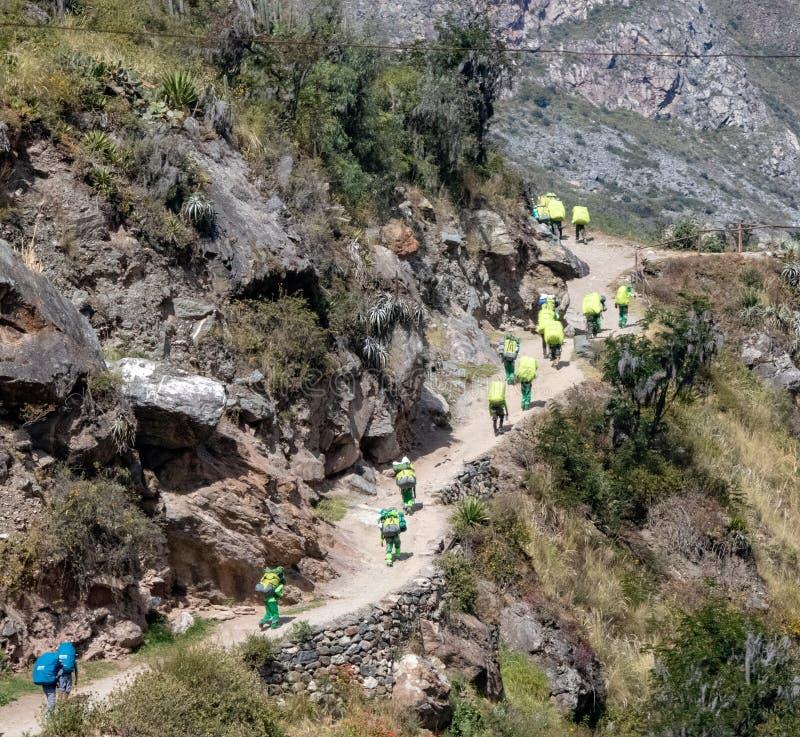 Meningen van Portiers langs Inca Trail Bound voor Machu Picchu royalty-vrije stock afbeelding