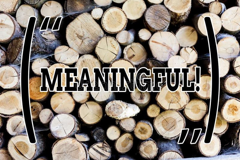 Meningsfull textteckenuppvisning Begreppsmässigt foto som har betydelse viktigt relevant viktigt målmedvetet trä arkivfoton