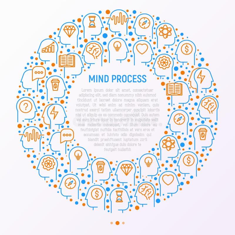 Meningsprocessbegrepp i cirkel stock illustrationer