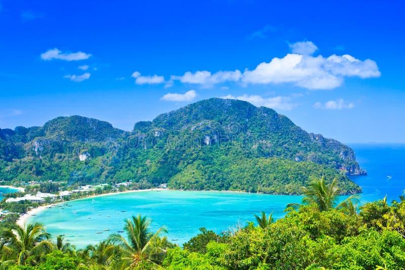 Meningspunt bij phi-Phi eiland stock afbeeldingen