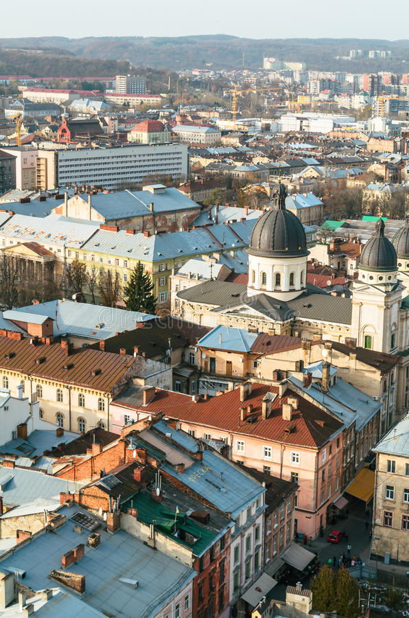 Meningsstad van Lviv stock foto's