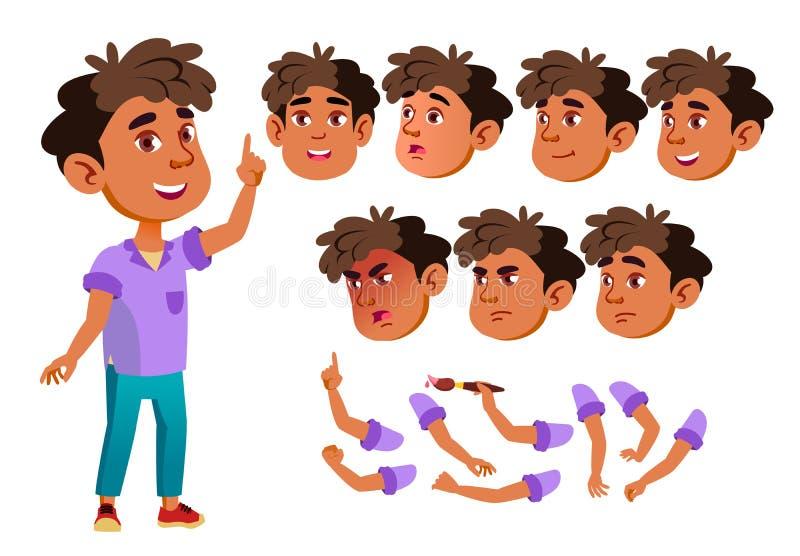 Menino árabe, muçulmano, criança, criança, vetor adolescente pouco engraçado júnior amigável Emoções da cara, vários gestos anima ilustração stock