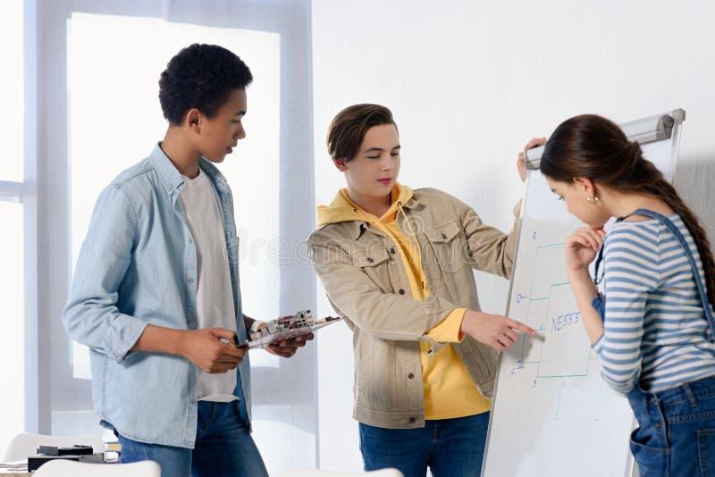 menino adolescente caucasiano que apresenta algo no flipchart aos adolescentes multiculturais imagens de stock royalty free