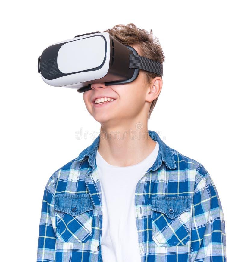 Menino adolescente com VR imagens de stock