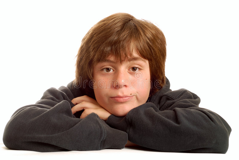 Menino adolescente furado fotografia de stock