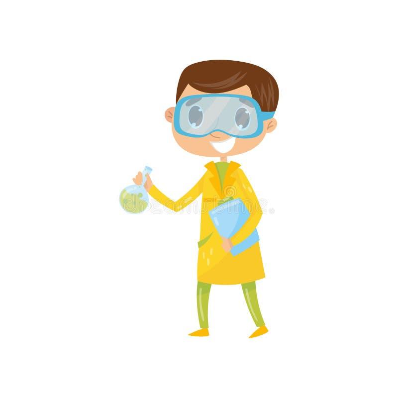 Menino adolescente interessado em criança famosa tornar-se de Cartoon do químico no revestimento amarelo e nos vidros protetores, ilustração do vetor
