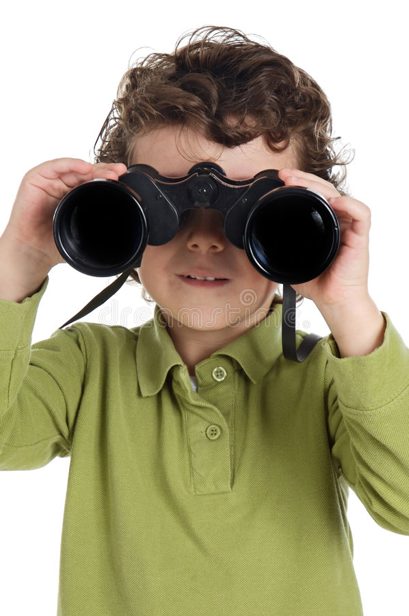 Menino adorável com binóculos fotografia de stock