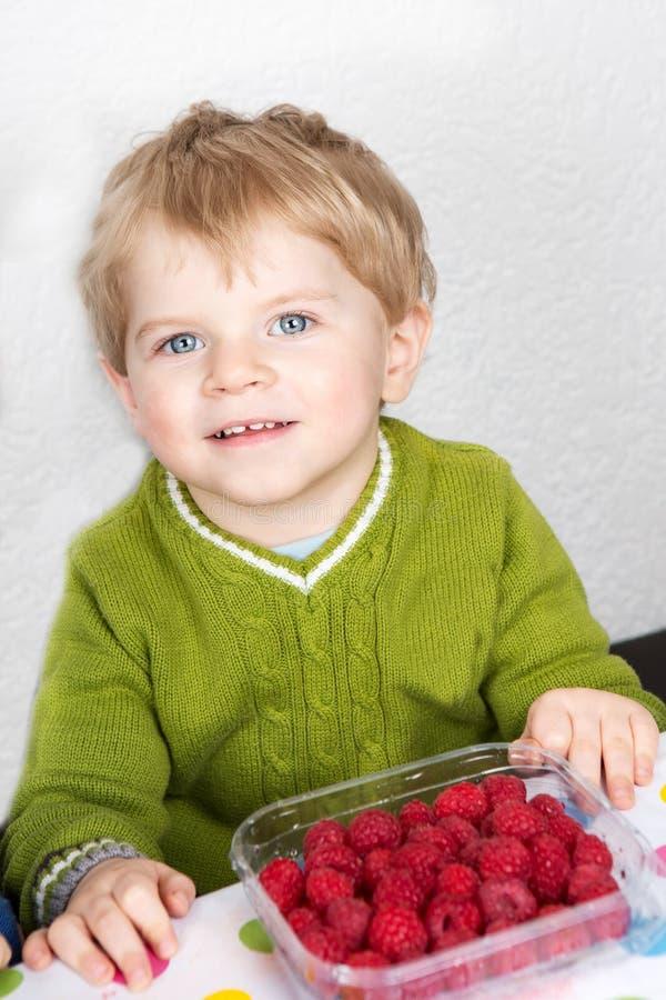 Menino adorável da criança com cabelos louros que come as framboesas frescas a imagens de stock