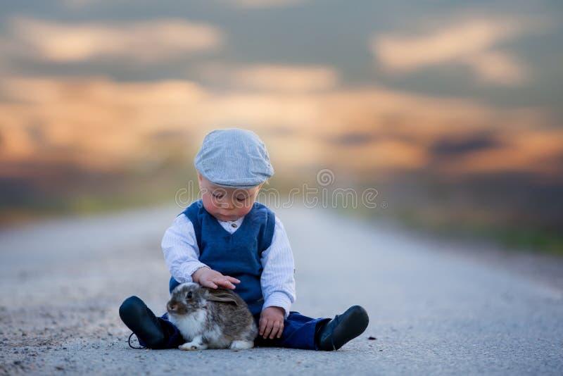 Menino adorável da criança, criança que joga com pouco coelho em um rural fotos de stock royalty free