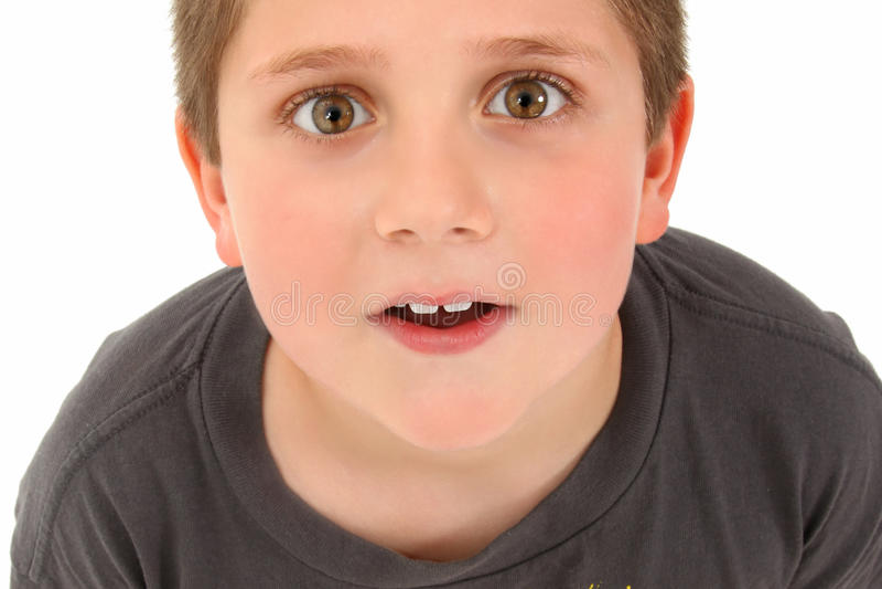 Menino adorável dos anos de idade 8 que olha acima imagem de stock royalty free