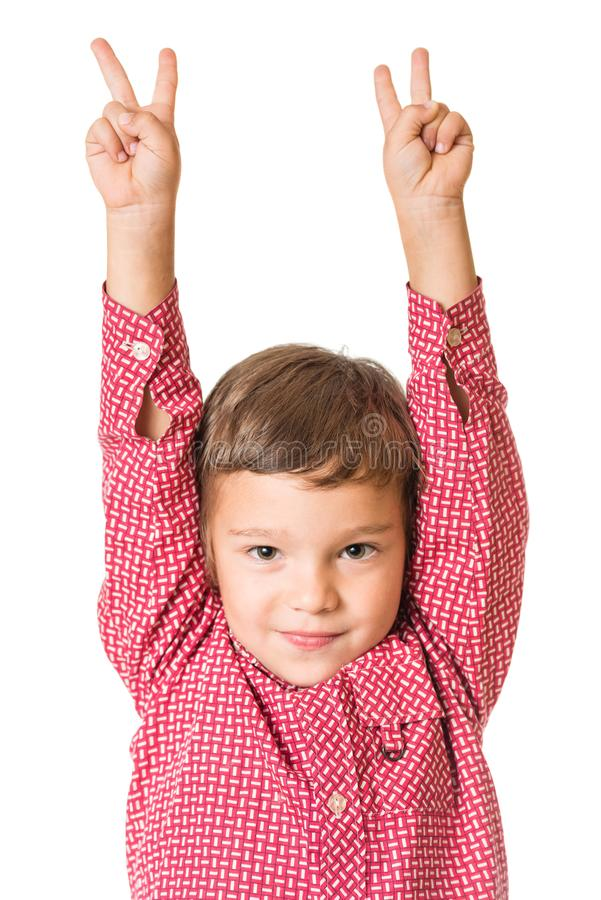 Menino adorável novo ambas as mãos levantadas foto de stock