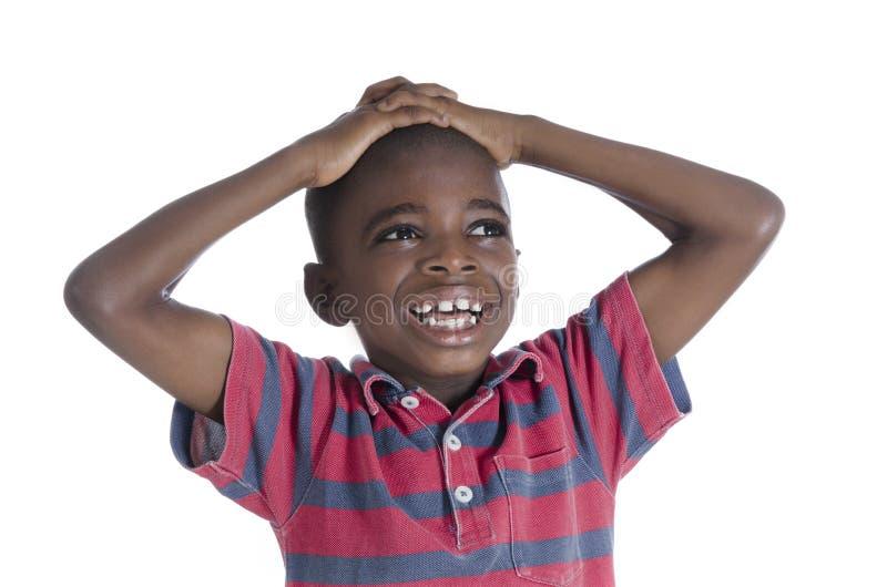 Menino africano no esforço imagens de stock royalty free