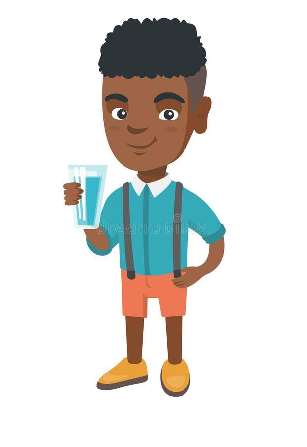 Menino africano pequeno que guarda um vidro da água ilustração stock