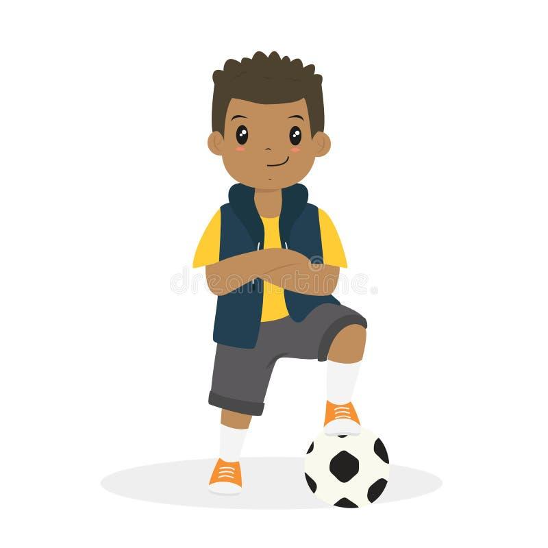 Menino afro-americano com os braços cruzados e um vetor dos desenhos animados da bola de futebol ilustração stock