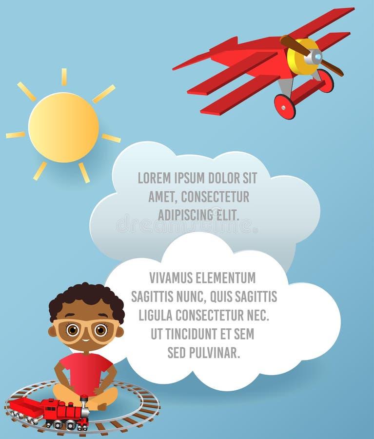 Menino afro-americano com vidros e trem do brinquedo Menino que joga com trem Vector a arte de papel da nuvem e do voo plano no c ilustração stock