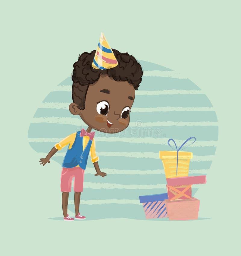 Menino afro-americano feliz da criança excitado à caixa de presente do aniversário O caráter bonito da criança desempacota o pres ilustração stock