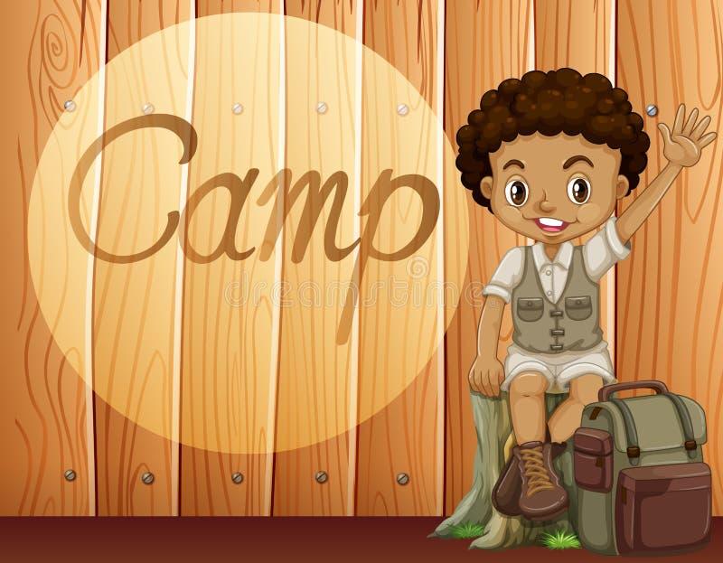 Menino afro-americano no equipamento de acampamento ilustração royalty free