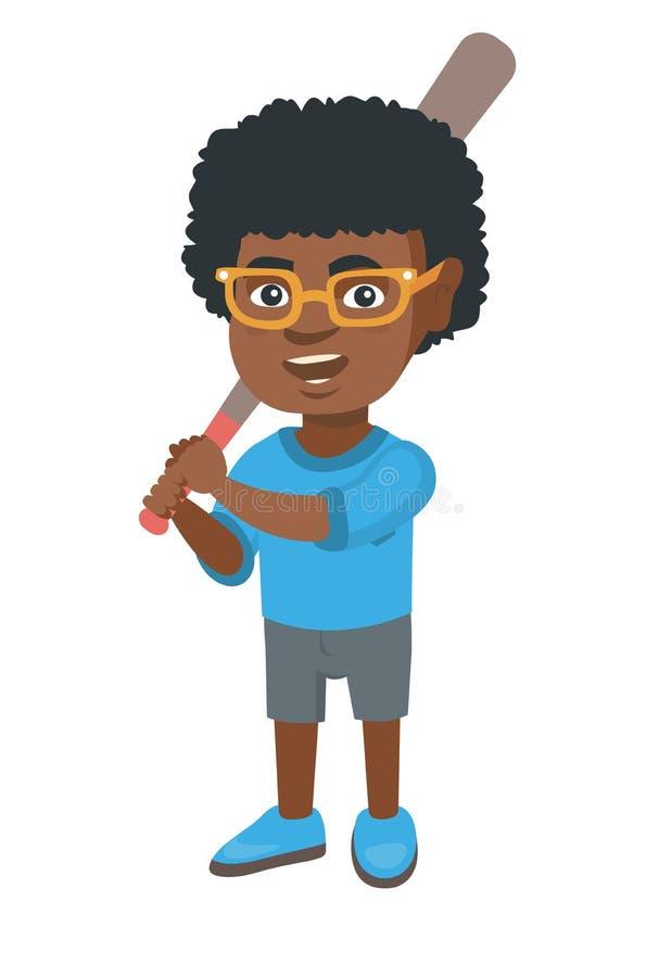 Menino afro-americano novo que joga o basebol ilustração do vetor