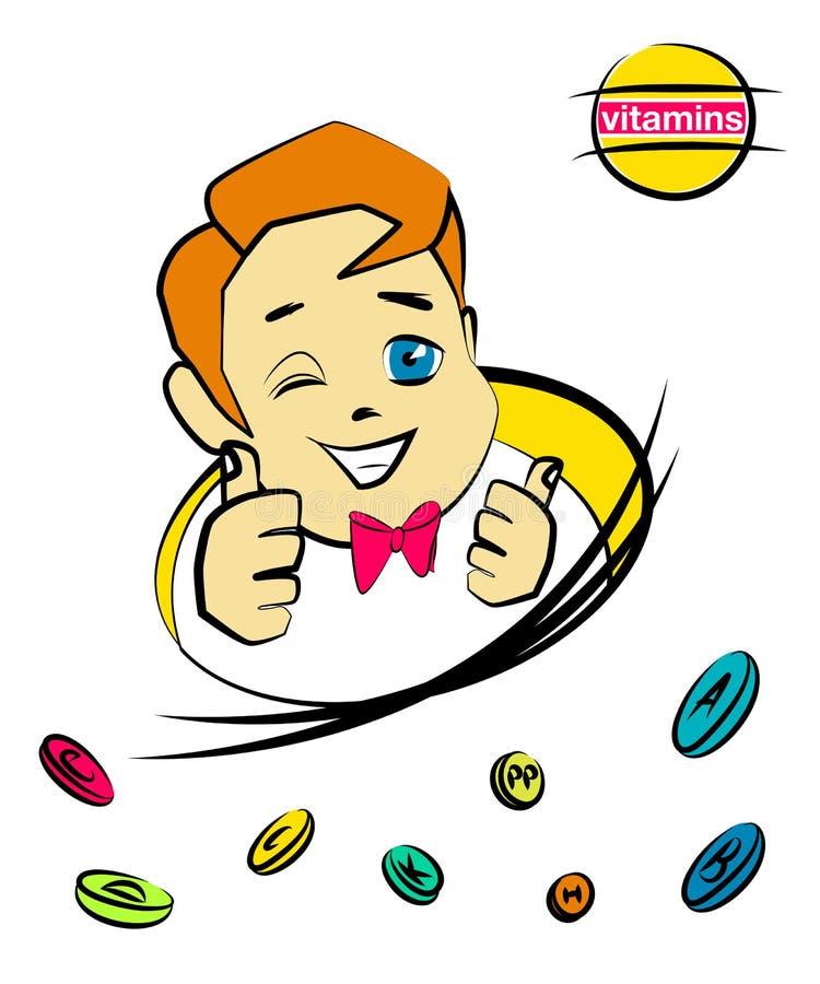 Menino agradável dos desenhos animados com comprimidos da vitamina ilustração do vetor