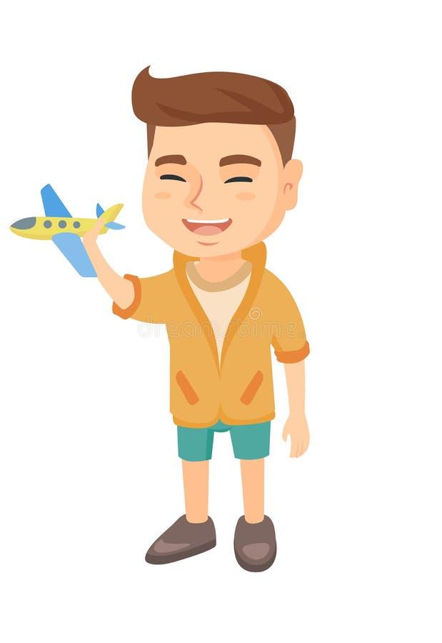 Menino alegre caucasiano que joga com um avião do brinquedo ilustração do vetor