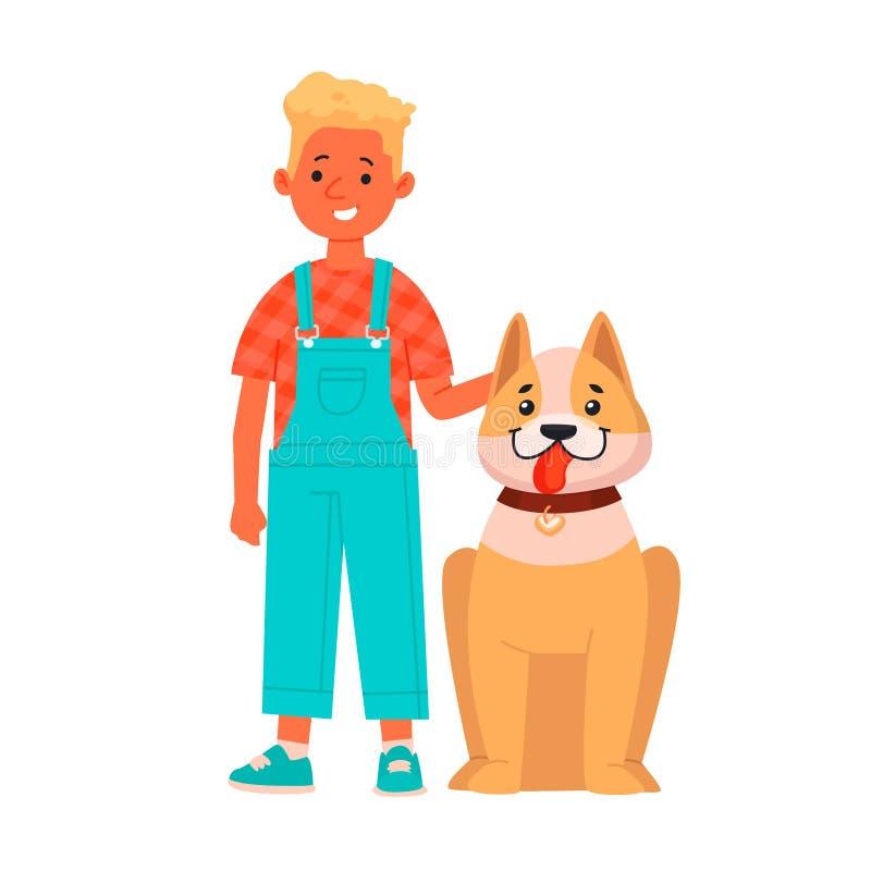 Menino alegre com um cão Criança feliz com seu animal de estimação em um fundo isolado Ilustração do vetor ilustração do vetor