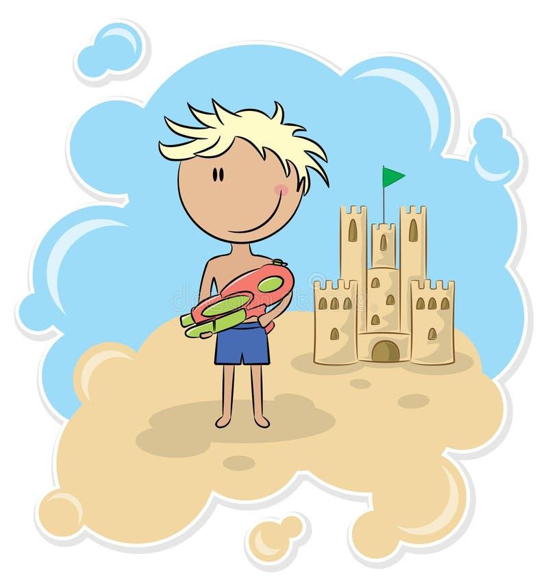 Menino alegre e o castelo da areia ilustração royalty free