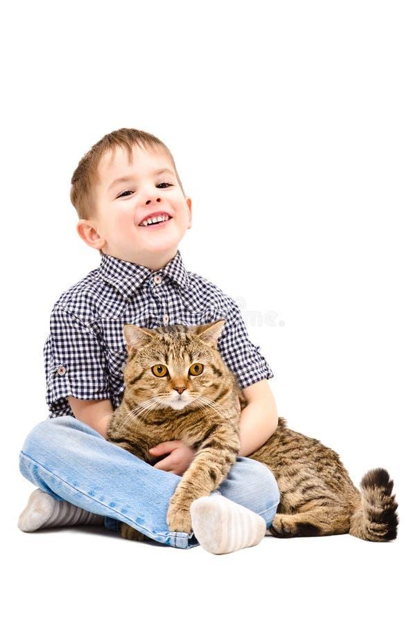Menino alegre que abraça um reto escocês do gato fotografia de stock