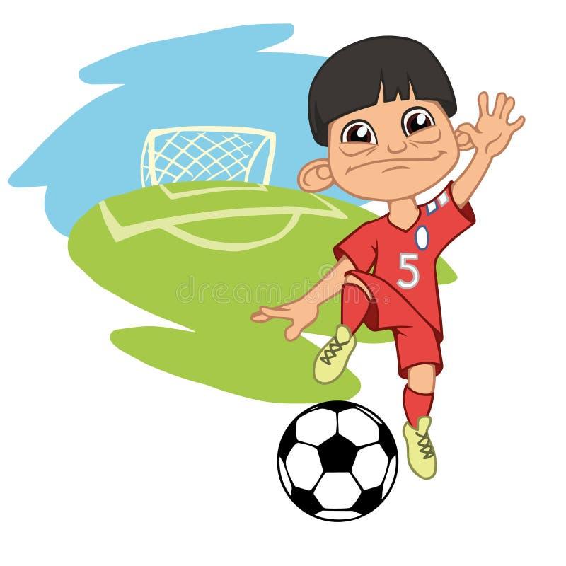 Menino alegre que joga o futebol ilustração royalty free