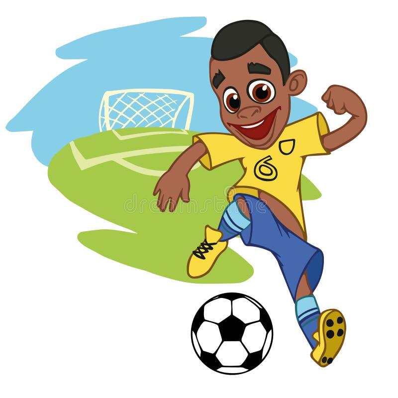 Menino alegre que joga o futebol ilustração stock