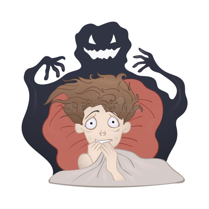 Menino amedrontado na cama e o monstro assustador da sombra Medo da obscuridade, pesadelo Ilustração do vetor, no branco ilustração stock