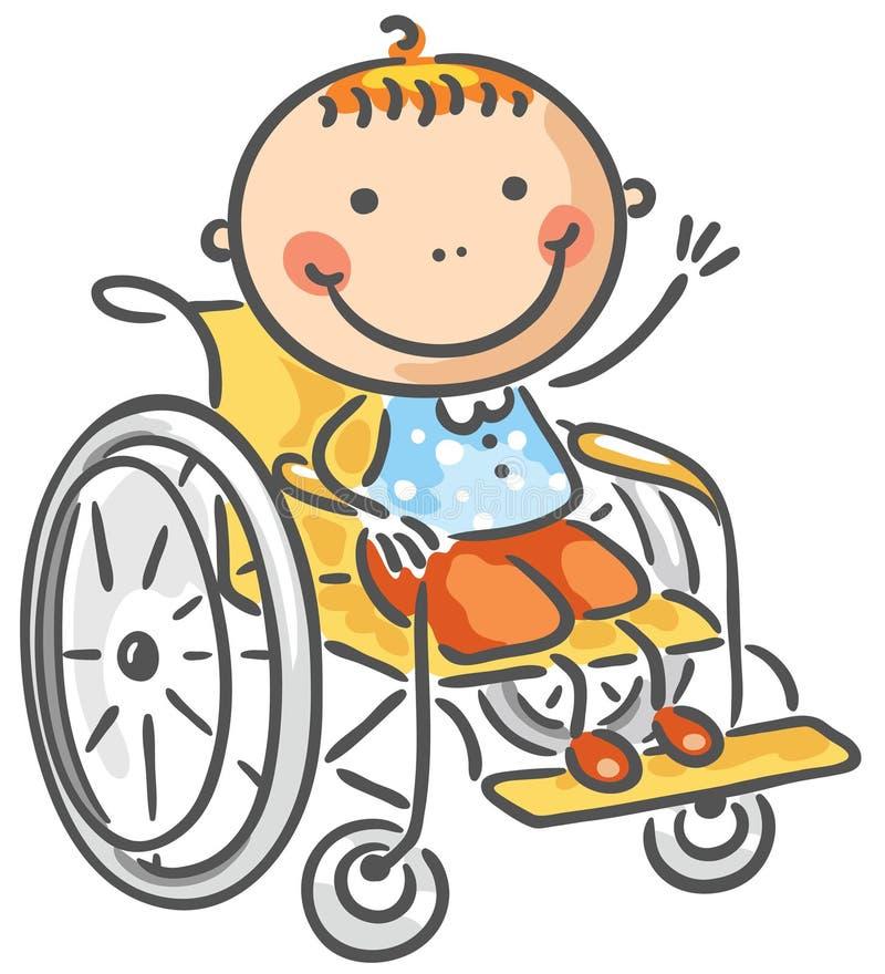 Menino amigável em uma cadeira de rodas ilustração do vetor