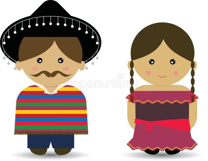 Menino & menina mexicanos ilustração stock