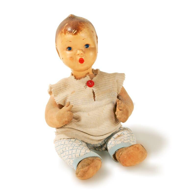 Menino antigo usado idoso da boneca   imagem de stock royalty free