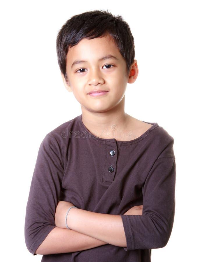 Menino asiático com face de sorriso fotografia de stock