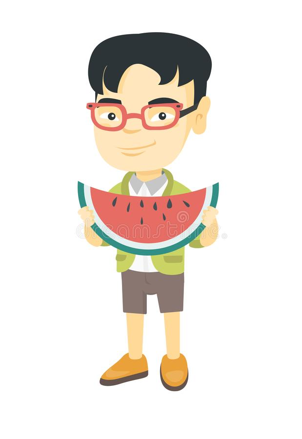 Menino asiático novo que come a melancia deliciosa ilustração stock
