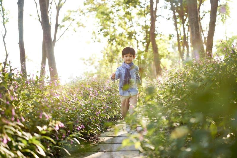 Menino asiático pequeno bonito que anda no campo de flor imagem de stock royalty free