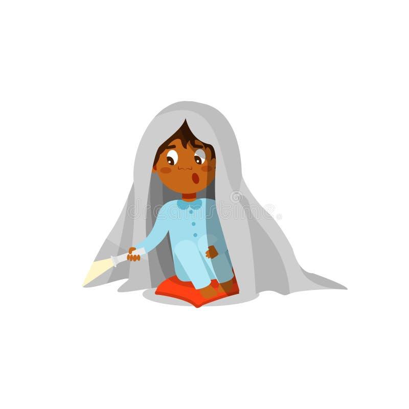 Menino assustado que senta-se na cama com lanterna elétrica e que esconde sob a ilustração geral do vetor em um fundo branco ilustração stock