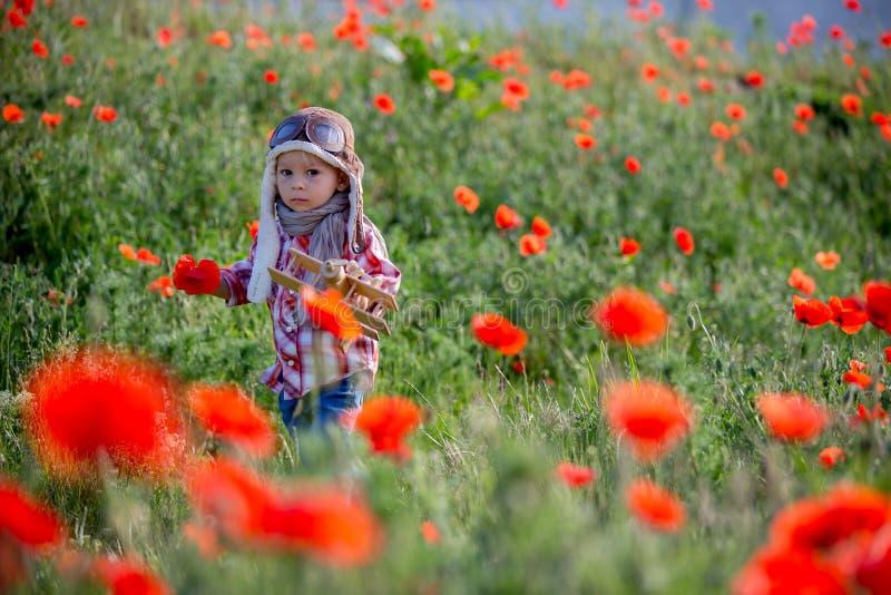 Menino bebê doce, criança brincando com avião em campo de papoila, belo dia ensolarado fotografia de stock royalty free
