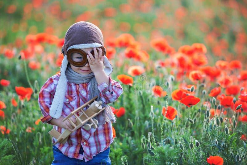 Menino bebê doce, criança brincando com avião em campo de papoila, belo dia ensolarado imagens de stock royalty free
