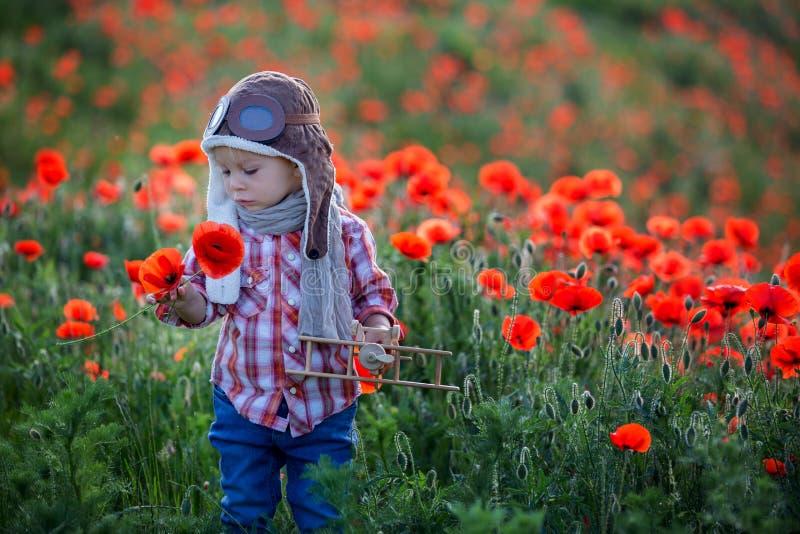 Menino bebê doce, criança brincando com avião em campo de papoila, belo dia ensolarado fotografia de stock