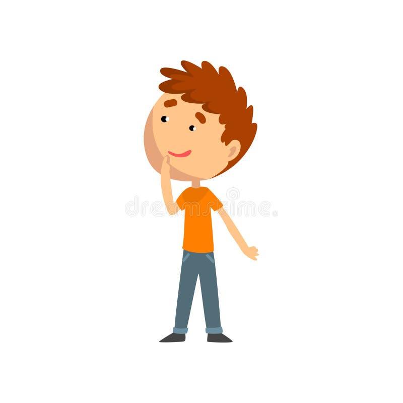 Menino bonito, criança que tem o divertimento na ilustração do vetor do campo de jogos, do parque de diversões ou do circo em um  ilustração royalty free