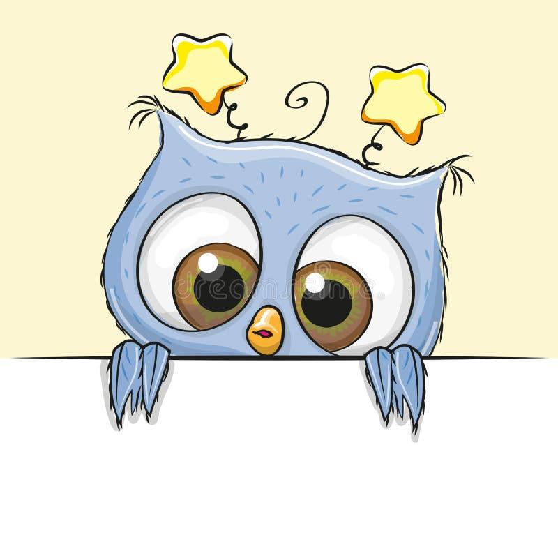 Menino bonito da coruja do cartão ilustração stock