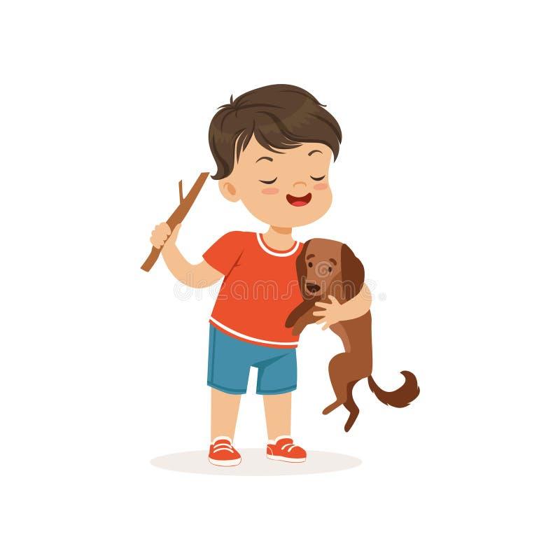 Menino bonito da intimidação que amola o cão pequeno, criança alegre das gorilas, ilustração má do vetor do comportamento da cria ilustração do vetor
