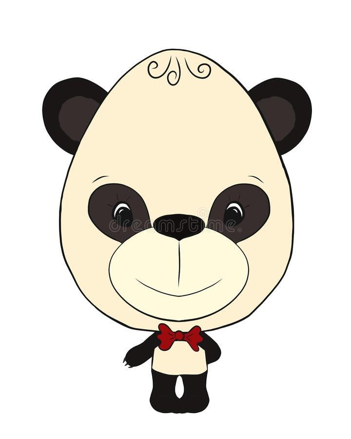 Menino bonito da panda com um laço ilustração royalty free