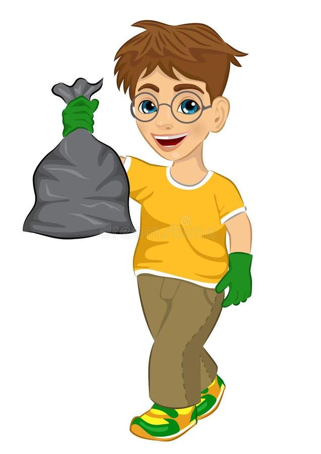 Menino bonito do adolescente no t-shirt amarelo e nas luvas de borracha verdes que guardam o saco de lixo ilustração do vetor