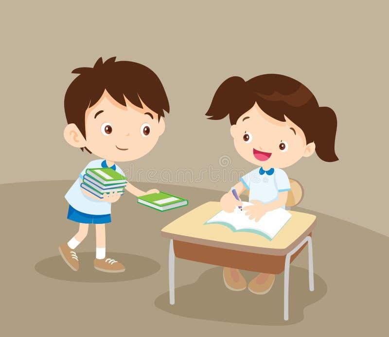 Menino bonito do estudante que dá um livro ao amigo ilustração royalty free